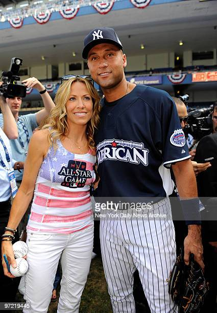 All Star Game at Yankee Stadium., Singer Sheryl Crow will sing the national Anthem to kick off the game., She poses for a photo with Yanks Derek...