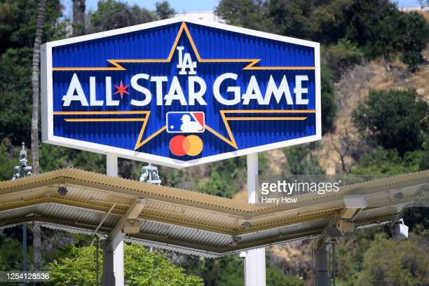 All Star Game sign in right field at a Los Angeles Dodgers summer workout in preparation for a shortened MLB season during the coronavirus pandemic...