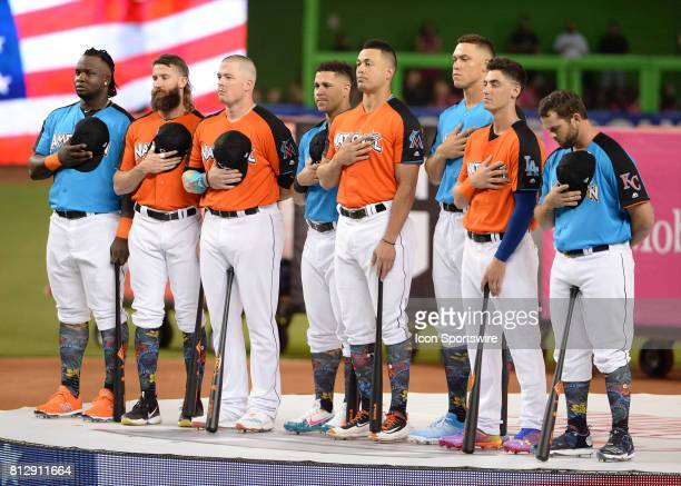 All Star Home Run Derby player presentation during the National Anthem prior to the Home Run Derby on July 09 2017 at Marlins Park in Miami FL