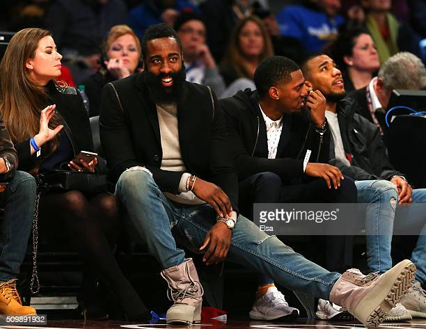 All Star James Harden of the Houston Rockets looks on in the second half between the World team and United States team during the BBVA Compass Rising...