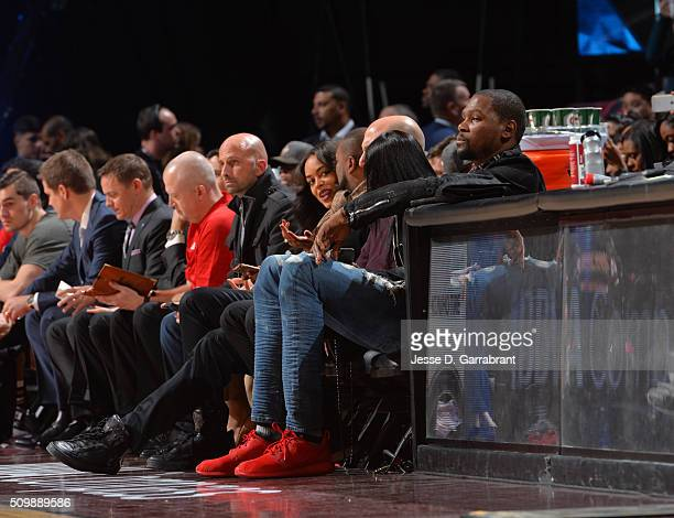 All Star Kevin Durant looks on during the BBVA Compass Rising Stars Challenge as part of the 2016 NBA All Star Weekend on February 12 2016 at the Air...