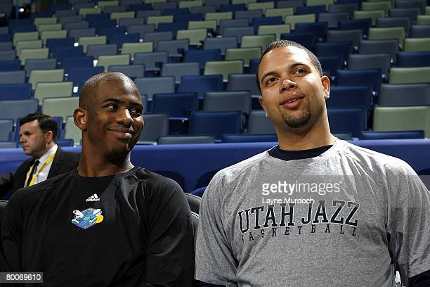 All Star point guards Chris Paul of the New Orleans Hornets and Deron Williams of the Utah Jazz chat before their match on February 29 2008 at the...