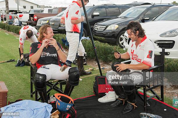 All Star Polo Players Kris Kampsen and Mariano Gracida after exibition Game at International Polo Club Palm Beach on January 16 2017 in Wellington...