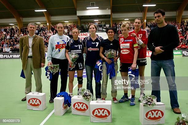 All star team 20022003 in Haandboldligaen Karin Mortensen Henriette Mikkelsen Trine Jensen all Ikast/Bording Josephine Touray Kolding Camilla...