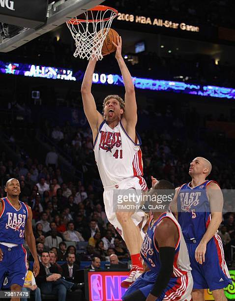 All Star West Team player Dirk Nowitzki goes in for a dunk during the 2008 NBA AllStar Game February 17 2008 in New Orleans Louisiana at the New...
