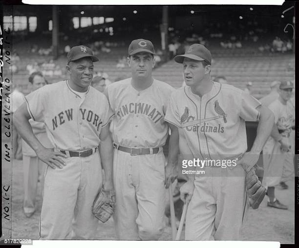 All Stars Willie Mays, Ted Kluszenski, and Stan Musial are shown here in baseball uniforms.
