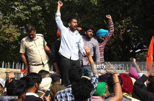 All Students organization of Punjab University protest for Re-opening of the University at VC Office Punjab University, on March 9, 2021 in...