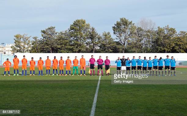 All teams ready for the UEFA Development Tournament Match between Germany U16 and Netherlands U16 on February 9 2017 in Vila Real Santo António...