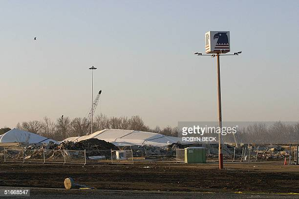 All that remains of he US Airways Arena in Landover Maryland is an eagle sign in the arena's former parking lot after the structure was destroyed to...