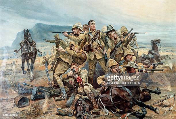All that Was Left of Them the defeat of a squadron of the 17th lancers at Modderfontein September 17 drawing by Richard Caton Woodville coloured...