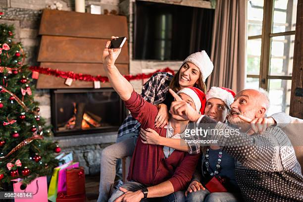 all the family taking a selfie for christmas