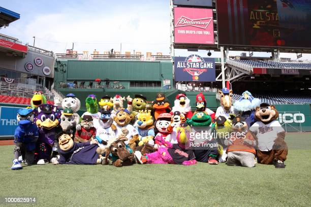 All the Major League mascots pose for a group during the Gatorade AllStar Workout Day at Nationals Park on Monday July 16 2018 in Washington DC