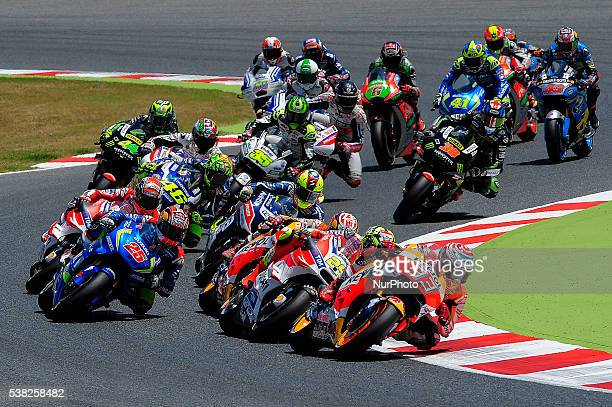 All the MotoGP riders at the first lap during the MotoGP race at GP Monster Energy of Catalonia June 5 2016 in Barcelona Spain