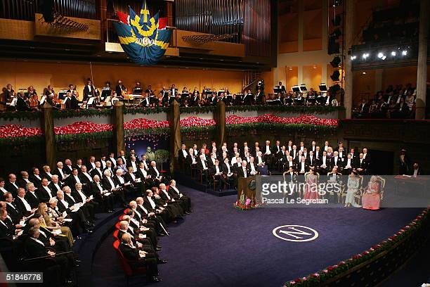 All the Nobel Laureates and the Swedish Royal family are seen during the awarding ceremony of the Nobel Prizes at City Hall December 10 2004 in...