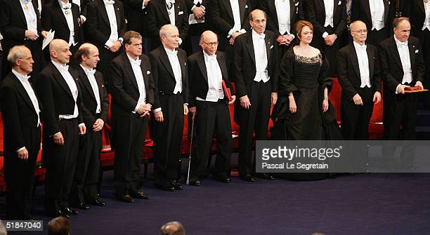 All the Nobel Laureates attend the awarding ceremony of the Nobel Prizes at the Concert Hall on December 10 2004 in Stockholm Sweden The prizes were...
