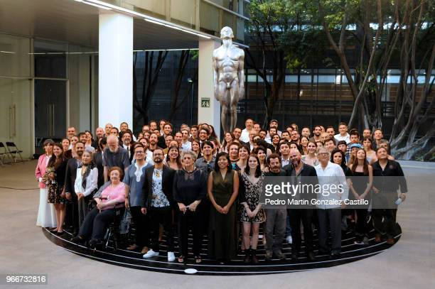 All the nominees pose for a group photo during a photocall ahead of 60th Ariel Awards nominees presentation at Estudios Churubusco on May 28 2018 in...