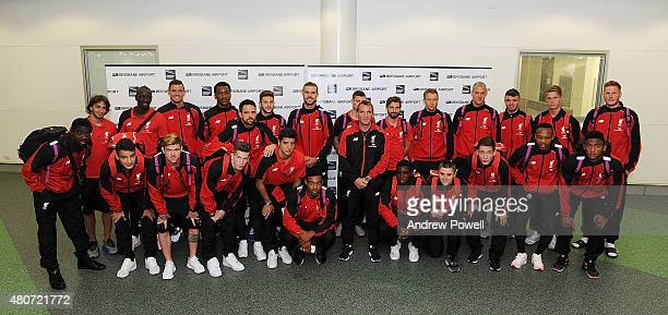 All the players of Liverpool and Manager Brendan Rodgers pose for a photograph as they arrive at Brisbane on July 15 2015 in Brisbane Australia