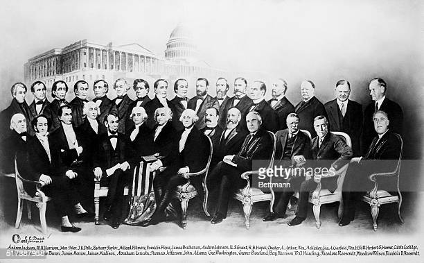 All the presidents ranging from George Washington until Franklin D Roosevelt gather together for a portrait in front of the White House A...