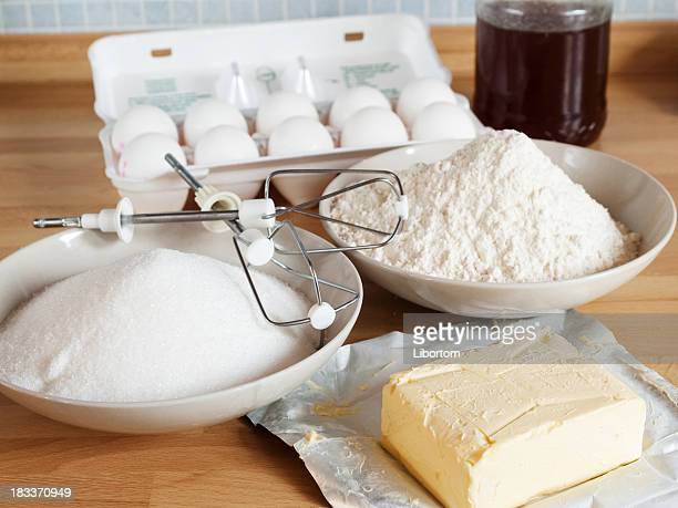 All the supplies to bake a cake