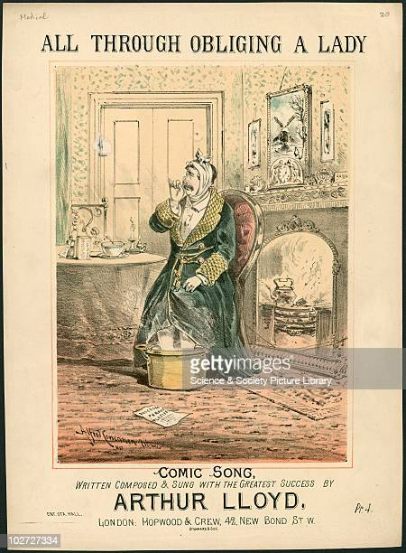 All Through Obliging A Lady' sheet music cover London England 1882 Music cover with medical themes All through obliging a lady By Hopwood Crew London...