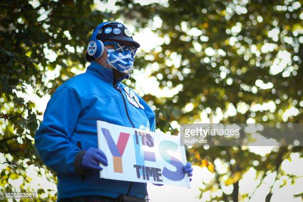 All under one banner members take part in a static Indy Ref2 rally outside the headquarters of BBC Scotland on September 17, 2020 in Glasgow,...