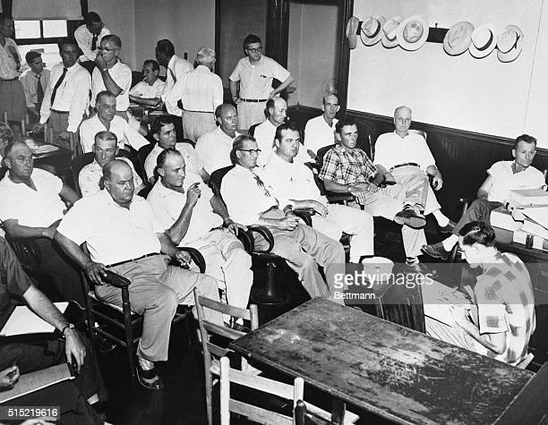 All White Male Jury for Whistle Murder Trial Sumner Mississippi Here is the all white all male jury selected for the trial of Roy Bryant and his half...