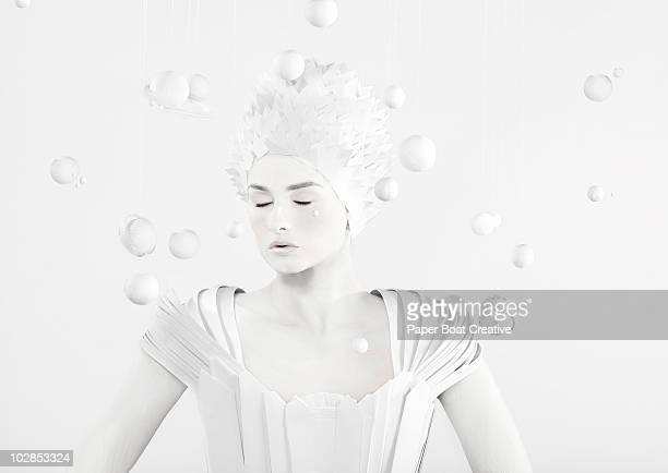 all white woman in the center of planets - body paint stock pictures, royalty-free photos & images