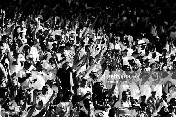All Whites fans show their support during the 2018 FIFA World Cup Qualifier match between the New Zealand All Whites and Peru at Westpac Stadium on...