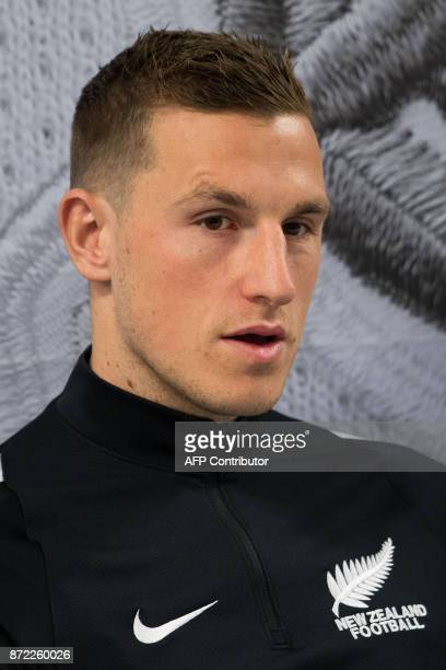 All Whites player Chris Wood speaks to the media during a media and training session at Westpac Stadium in Wellington New Zealand on November 10 2017...