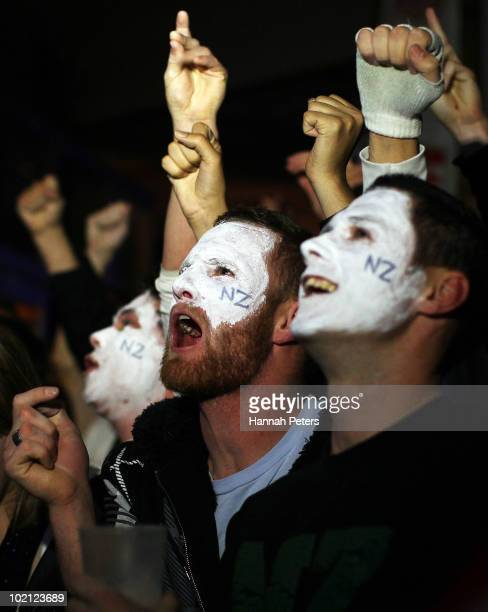 All Whites supporters cheer on their team during a match between New Zealand and Slovakia at the 2010 World Cup in South Africa on June 15, 2010 in...