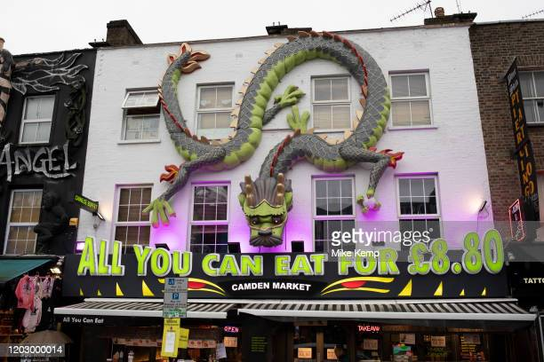 All you can eat Chinese buffet restaurant in Camden on 14th January 2020 in London, England, United Kingdom. Many people eat bargain food responsibly...