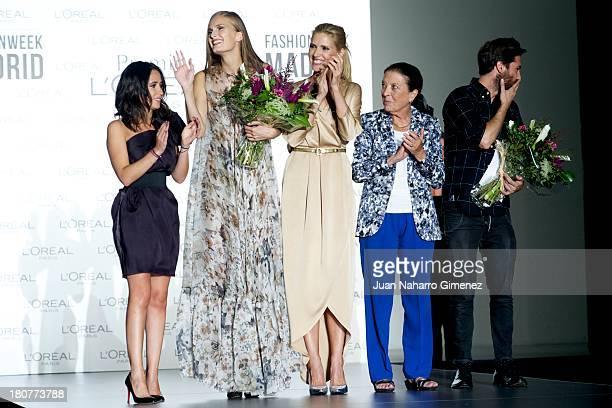 Alla Kostromichova Judit Masco and Cuca Solana attend L'Oreal Award during Mercedes Benz Fashion Week Madrid Spring/Summer 2014 at Ifema on September...
