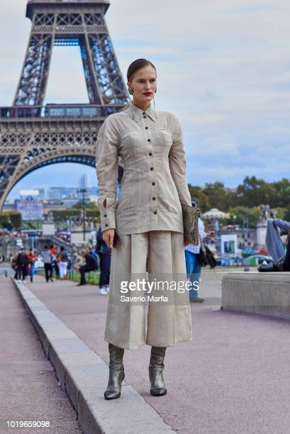 Alla Kostromichova seen outside Hermes during Paris Fashion Week Spring/Summer 2018 on 2nd October 2017 in Paris France