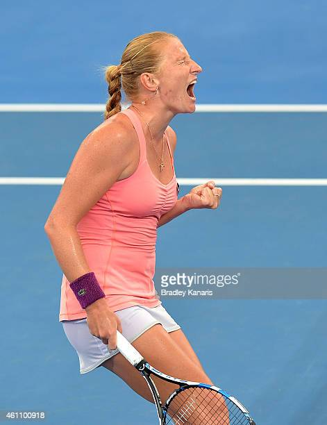 Alla Kudryavtseva of Russia celebrates after winning the second set in her match against Karolina Pliskova of the Czech Republic during day four of...