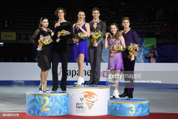 Alla Loboda and Pavel Drozd of Russia Rachel Parsons and Michael Parsons of the USA Christina Carreira and Anthony Ponomarenko of the USA pose with...