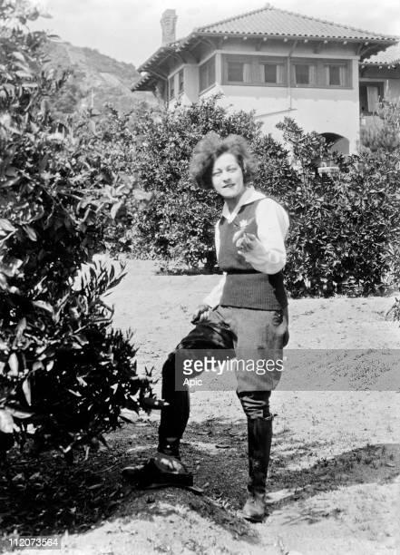 Alla Nazimova american actress from russian origins here in a garden c 1925
