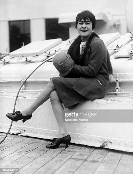 Alla NAZIMOVA crossing the Atlantic on board the SS PARIS on March 4 1923 Having been hired by Sir Oswald STOLL she was on her way to Plymouth to...