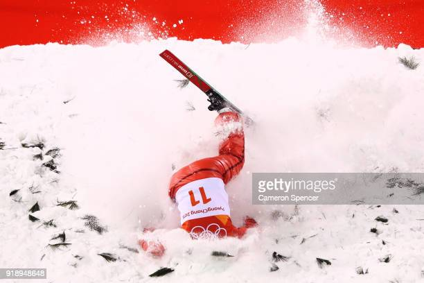 Alla Tsuper of Belarus crashes during the Freestyle Skiing Ladies' Aerials Final on day seven of the PyeongChang 2018 Winter Olympic Games at Phoenix...
