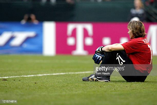 Alla Volkova Goalkeeper for Russia sits in fustration after Germany scored their seventh goalOctober 2 at PGE Park in Portland Oregon Germany...