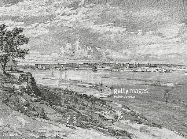Allahabad Fort in the Indian state of Uttar Pradesh seen from the right bank of the Yamuna River 1892 It was built by Mughal Emperor Akbar in 1583