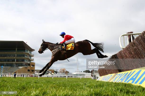 Allaho ridden by Rachael Blackmore jumps the last to win the Ryanair Chase during Day Three of the Cheltenham Festival 2021 at Cheltenham Racecourse...