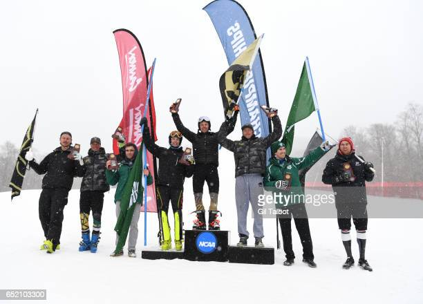 AllAmericans celebrate after the the Men's Slalom event at the Division I Men's and Women's Skiing Championships held at Cannon Mountain on March 10...