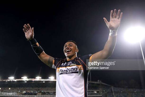 Allan Alaalatoa of the Brumbies celebrates winning the Super Rugby AU Grand Final between the Brumbies and the Reds at GIO Stadium on September 19,...