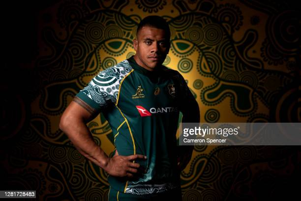 Allan Alaalatoa of the Wallabies poses during the Australian Wallabies 2020 First Nations Jersey portrait session on October 22 2020 in the Hunter...
