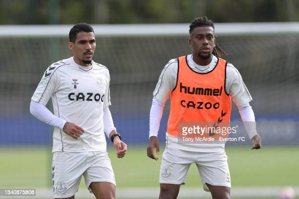 Allan and Alex Iwobi during the Everton Training Session at USM Finch Farm on September 16 2021 in Halewood, England.