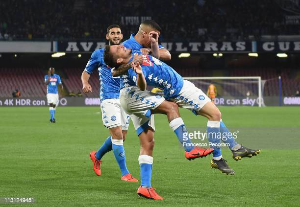 Allan and Dries Mertens of SSC Napoli celebrate the 42 goal scored by Dries Mertens during the Serie A match between SSC Napoli and Udinese at Stadio...