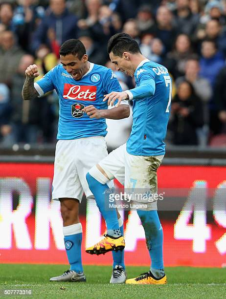 Allan and Josè Maria Callejon of Napoli celebrates their team's 4th goal of Empoli during the Serie A match between SSC Napoli and Empoli FC at...