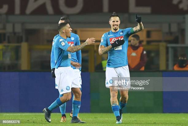 Allan and Marek Hamsik of SSC Napoli celebrate the 03 goal scored by Marek Hamsik during the Serie A match between Torino FC and SSC Napoli at Stadio...