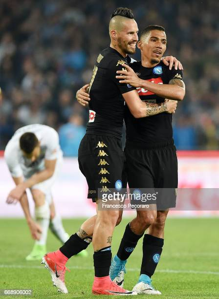 Allan and Marek Hamsik of SSC Napoli celebrate the 20 goal scored by Allan during the Serie A match between SSC Napoli and Udinese Calcio at Stadio...
