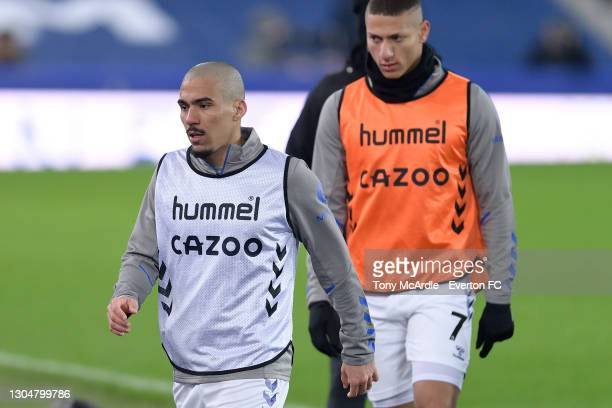 Allan and Richarlison of Everton before the Premier League match between Everton and Southampton at Goodison Park on March 2021 in Liverpool, England.